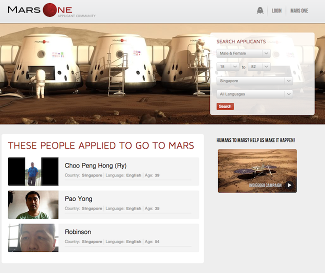 Mars One Applicants singapore