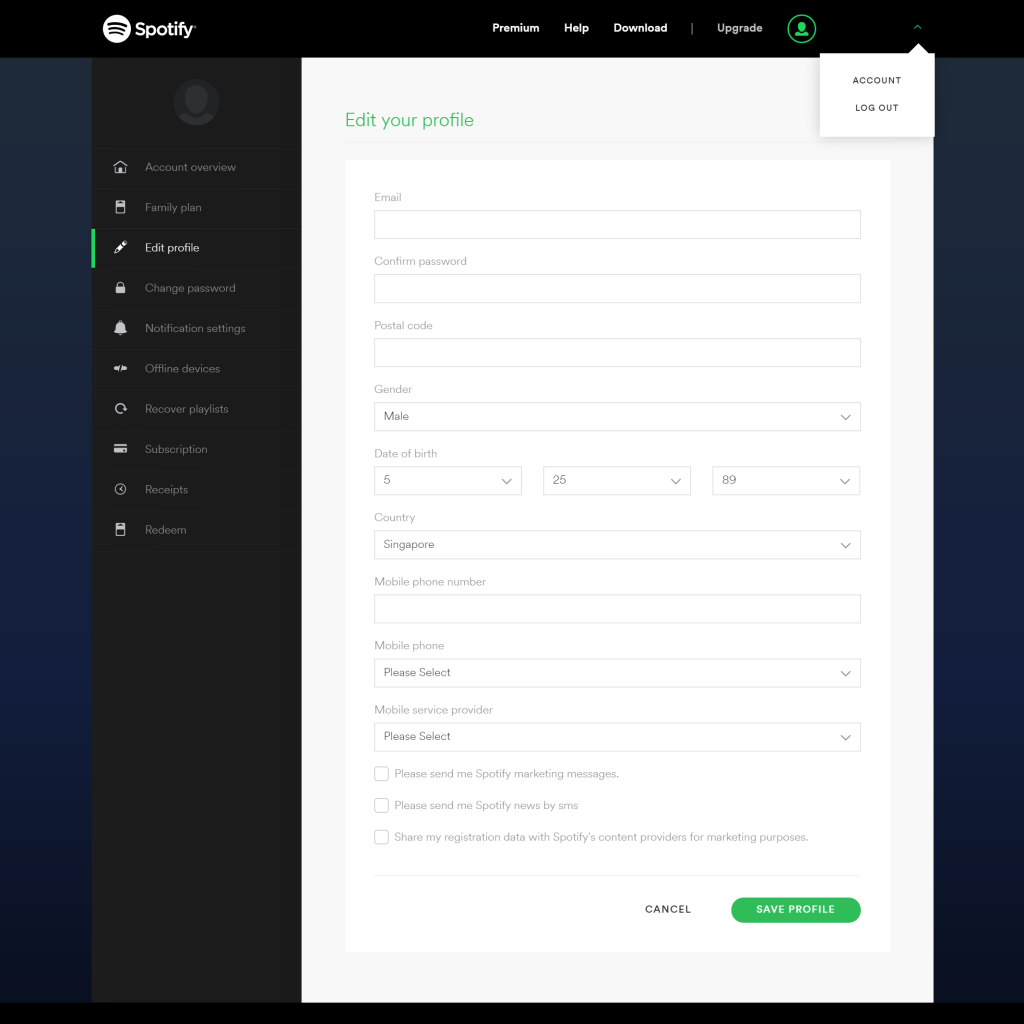 how to make account private on spotify
