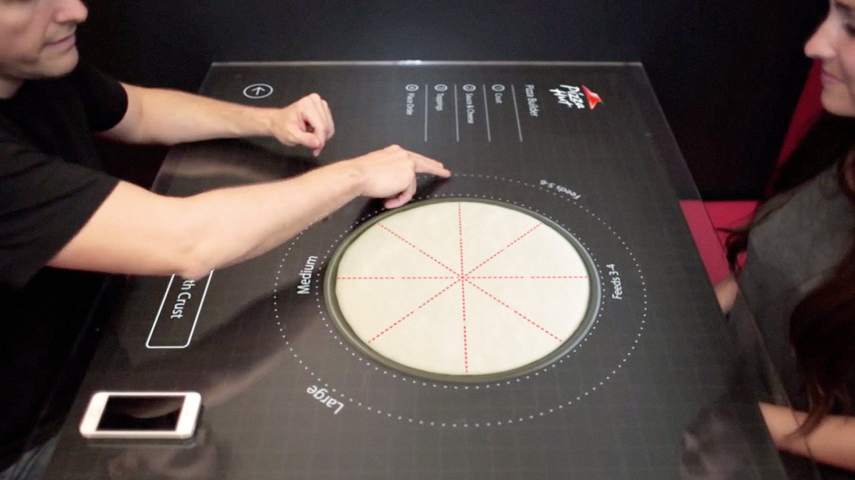 Touchscreen pizza ordering table of the future will land for Table a pizza